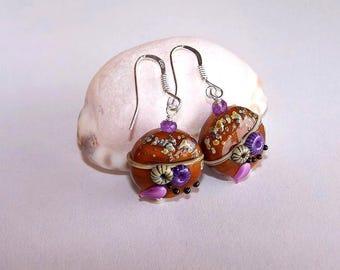 """noizettes"" glass earring"