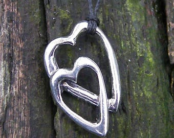 Double heart Limousin, made in France in fine pewter