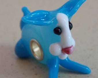 Pearl Blue Bunny worked glass and metal charm