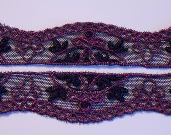 1 meter ❥ pretty Black Lace and Burgundy Ribbon 25mm