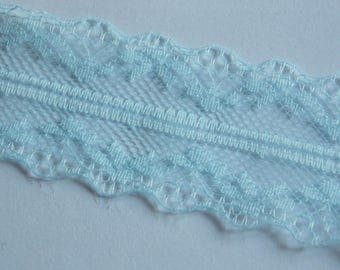 1 meter ❥ pretty soft floral wide lace light blue ribbon