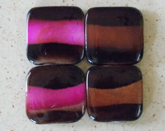 mother of Pearl handles, 2 kinds 4 squares: Brown / pink