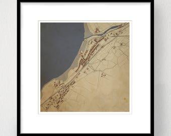 Y Felinheli Map, Wales - Y FELINHELI - Map Art Print, Limited Edition, Giclee Print