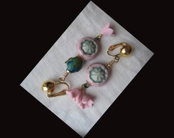 GOLD tone metal CLIPS, asymmetrical earrings