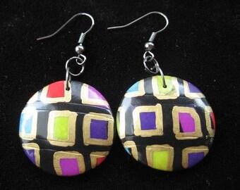Black/multicolor pop earrings polymer clay