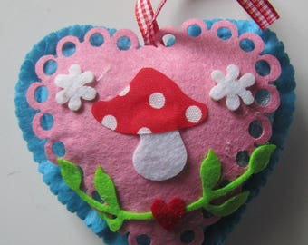 felt heart beautifully decorated - hanging - for the holidays Christmas