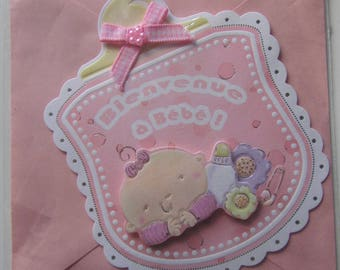 Welcome baby card! -rose color 3D card