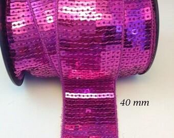 Braid sequin 40 mm red glitter Ribbon