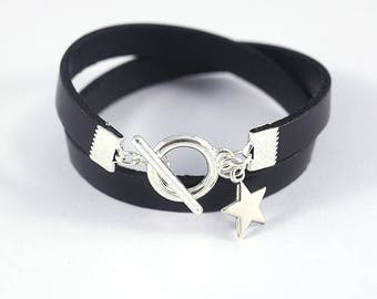 Bracelet black leather with Silver Clasp and star - leather women bracelet charm