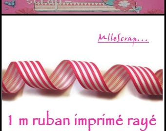 1 m scrapbooking embellishment pink white striped grosgrain Ribbon