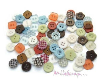 "Set of 80 buttons ""Curiosity Corner"" embellishment scrapbooking card making (ref.110). *."