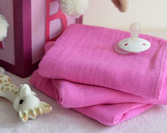 Hand Dyed Pink Swaddle - Muslin Swaddle - Gift for baby, babyshower