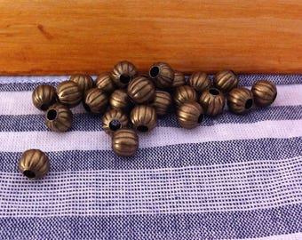 50 spacer beads pumpkin shape, round, bronze, 6 mm