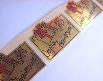 "5 tags ""Happy birthday"" rectangular, gold background"
