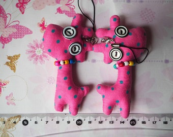GIRAFFE animal fabric pendant Pink with green polka dots for door keys, bag charm, hanging phone