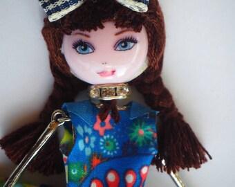 Doll pendant 12 cm, metal, blue, resin bag charm, pendant