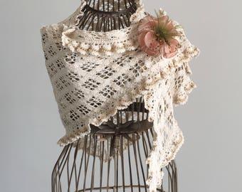 Tip/shawl ecru Mercerized cotton