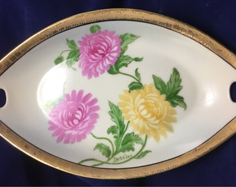 Vintage Z. S. & Co Bavarian Nut Dish, Hand Painted and Gold rimmed