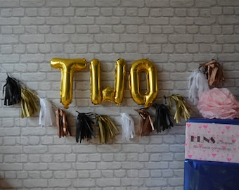 "TWO 16"" Rose Gold ,Silver or Gold Foil,Mylar Balloons, Foil Letters Balloon, Second Birthday Decoration"