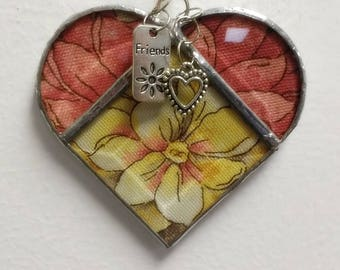 Stained Glass Heart Friend ~ Golden Yellow and Blush Flower Heart ~ 3.5  Inches  with Friend and Heart Charms