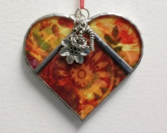 Stained Glass Heart Orange Flower ~ 3.5  Inches with Heart and Flower Charms