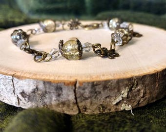 Antique Bronze and Yellow Beaded Flower Bracelet