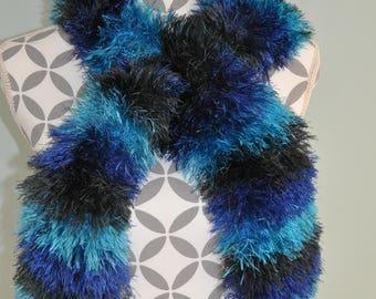 Beautiful scarf, shawl, neck warmer handmade in shades of blue