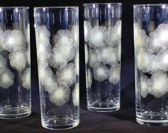 Four Collins Glasses with Starburst design