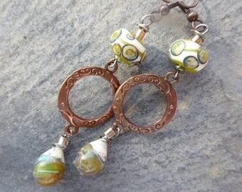 Delicate Bohemian romantic earrings - glass