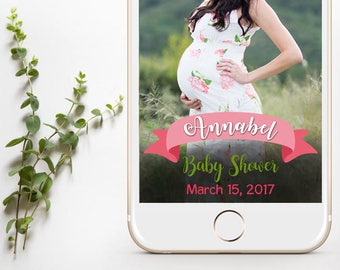 INSTANT DOWNLOAD - Customized Baby Shower Snapchat Filter, Baby Shower Snapchat Filter, Snapchat Geofilter for Baby Shower, Boho Baby Shower
