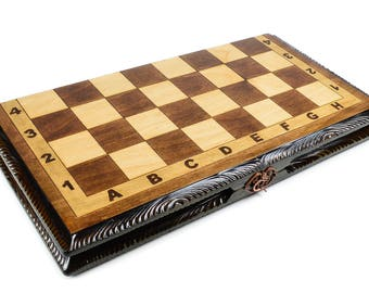 Chess Set - Backgammon - 2 In 1 Chess and Backgammon Set Silver Series