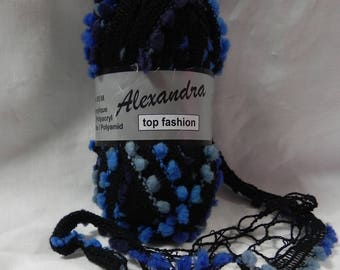 """ball for 1 ruffle scarves """"alexandra"""" tones black and blue"""