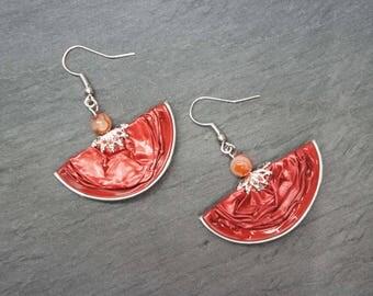 Earrings capsules of coffee - red half moons