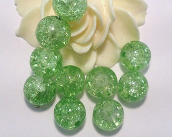 10 pearls glass Crackle, round, green, 10 mm, (A 74)