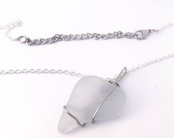 White sea glass necklace with adjustable chain