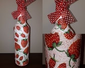 Strawberry kitchen decor red fruit bottle  decoupage juice liquore storage home decor glassware gift for her wife,romantic  gift,birthday