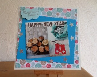 greeting card with logs, gloves, fingerless mittens