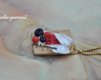 Necklace greed waffle red fruits.