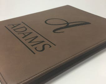 Custom Engraved Leather Folio