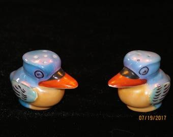 Vintage Japanese Lusterware Duck Salt and Pepper Shakers
