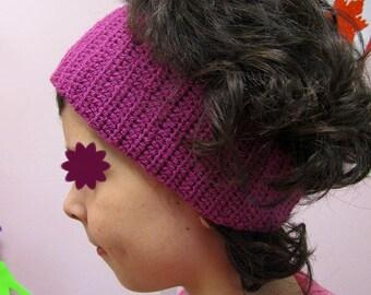 Purple crochet headband.  Large size.