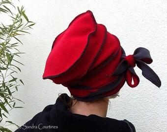 Reversible fleece Hat Grey'n Red