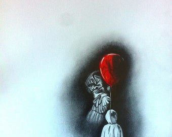 IT: Drawing inspired by the work of Stephen King, made in the graphite and colored pencil red on white paper.