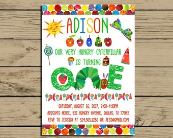 The Very Hungry Caterpillar Invitation * Very Hungry Caterpillar Birthday Party Invite* With Photo * Personalized * YOU PRINT