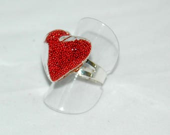 Glass bubble ring heart shaped - Inclusion with red microballs
