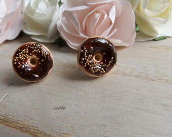 Stud Earrings Donuts grout Chocolate and Gold Ball