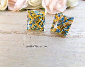 Stud Earring square : Azulejos of Porto, blue and yellow