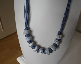 Necklace blue linen and Pearl White Ceramic printed blue flowers