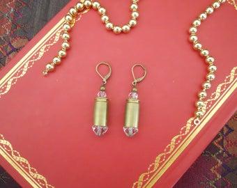Brass 9mm Bullet Shell Casing Crystal Earrings