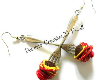Earrings with Meatball spaghetti and meat fork Ananas - Miniature